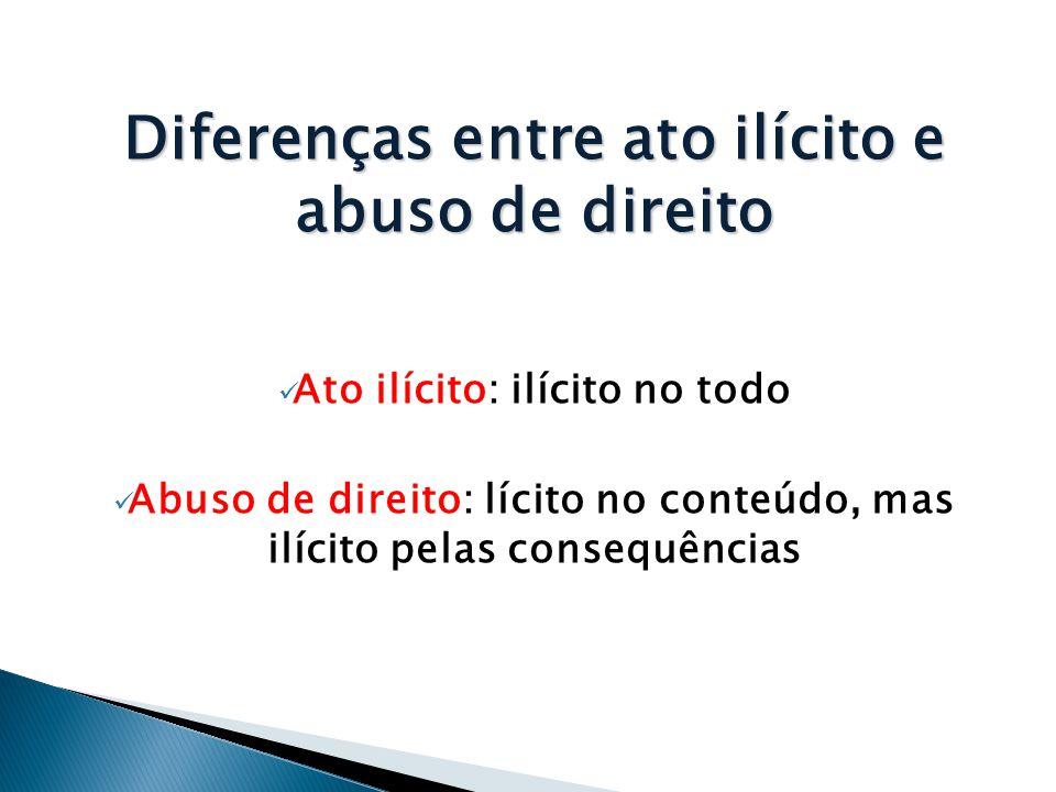 Diferenças entre ato ilícito e abuso de direito  Ato ilícito: ilícito no todo  Abuso de direito: lícito no conteúdo, mas ilícito pelas consequências