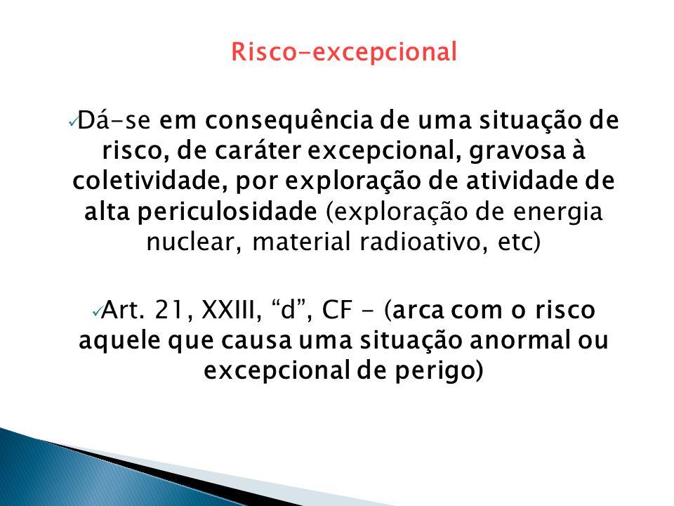 Risco-excepcional  Dá-se em consequência de uma situação de risco, de caráter excepcional, gravosa à coletividade, por exploração de atividade de alta periculosidade (exploração de energia nuclear, material radioativo, etc)  Art.