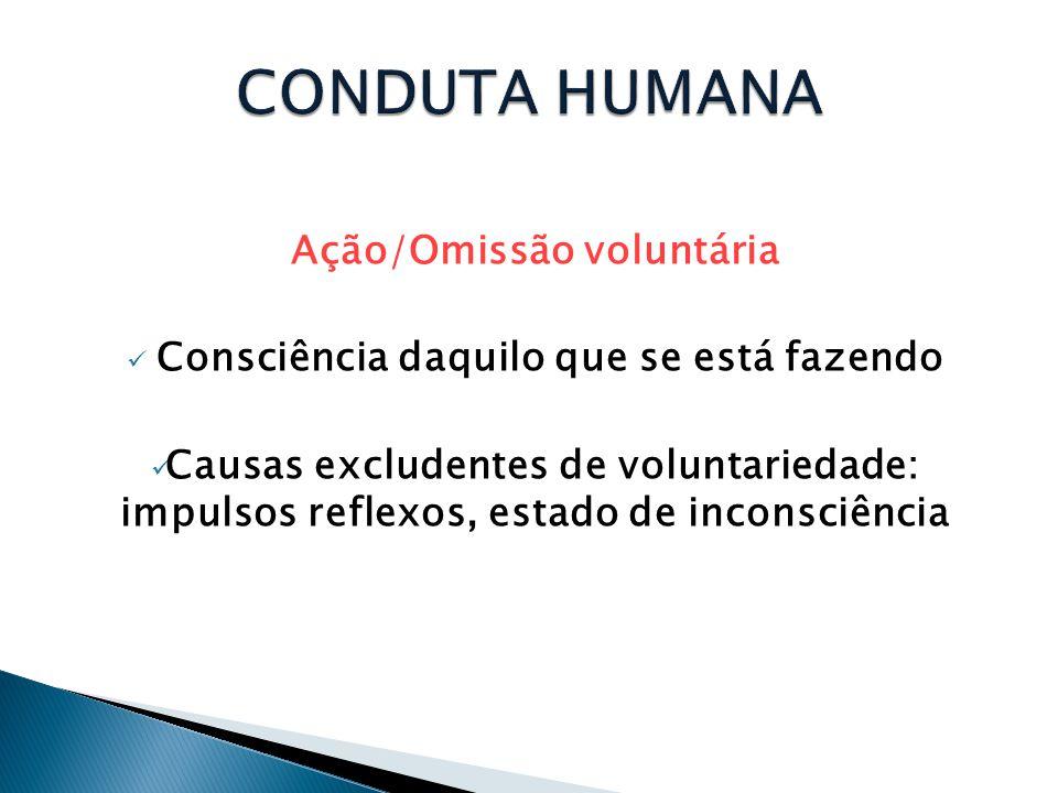Ação/Omissão voluntária  Consciência daquilo que se está fazendo  Causas excludentes de voluntariedade: impulsos reflexos, estado de inconsciência