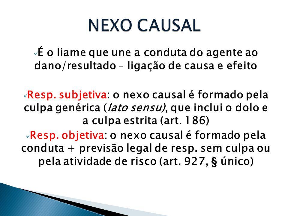  É o liame que une a conduta do agente ao dano/resultado – ligação de causa e efeito  Resp. subjetiva: o nexo causal é formado pela culpa genérica (