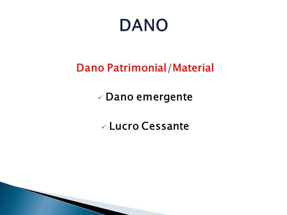 Dano Patrimonial/Material  Dano emergente  Lucro Cessante