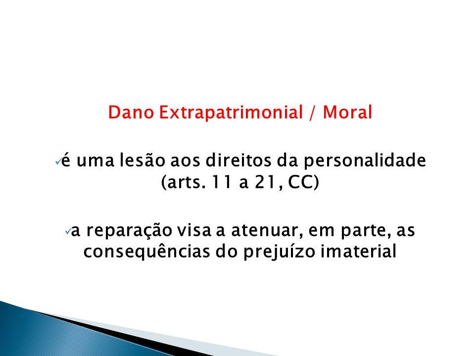 Dano Extrapatrimonial / Moral  é uma lesão aos direitos da personalidade (arts. 11 a 21, CC)  a reparação visa a atenuar, em parte, as consequências