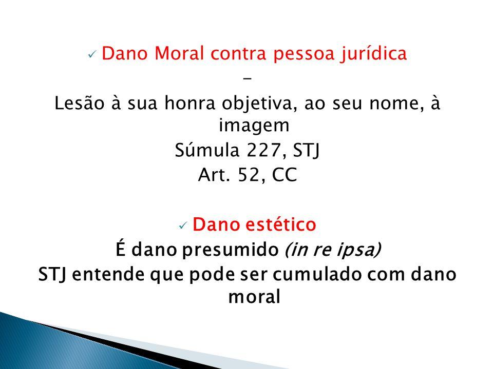  Dano Moral contra pessoa jurídica - Lesão à sua honra objetiva, ao seu nome, à imagem Súmula 227, STJ Art. 52, CC  Dano estético É dano presumido (