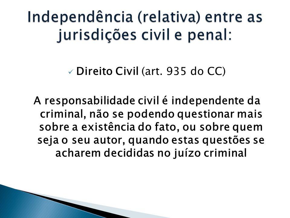  Direito Civil (art. 935 do CC) A responsabilidade civil é independente da criminal, não se podendo questionar mais sobre a existência do fato, ou so