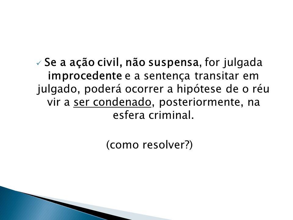  Se a ação civil, não suspensa, for julgada improcedente e a sentença transitar em julgado, poderá ocorrer a hipótese de o réu vir a ser condenado, p