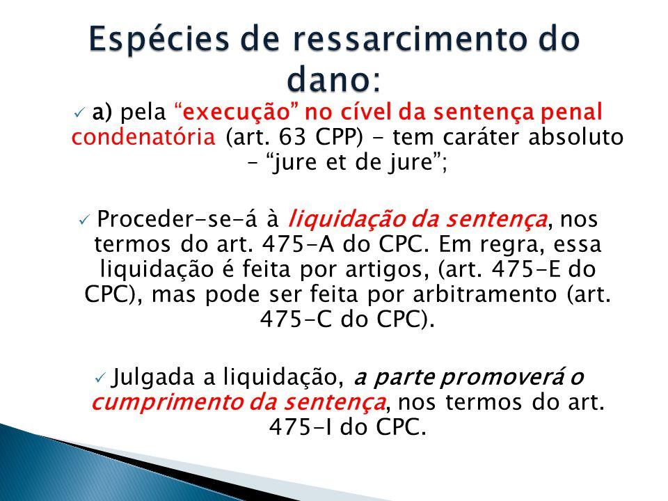 """ a) pela """"execução"""" no cível da sentença penal condenatória (art. 63 CPP) - tem caráter absoluto – """"jure et de jure"""";  Proceder-se-á à liquidação da"""