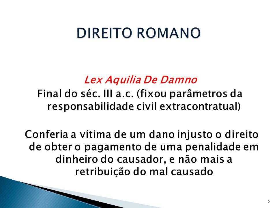 Lex Aquilia De Damno Final do séc.III a.c.