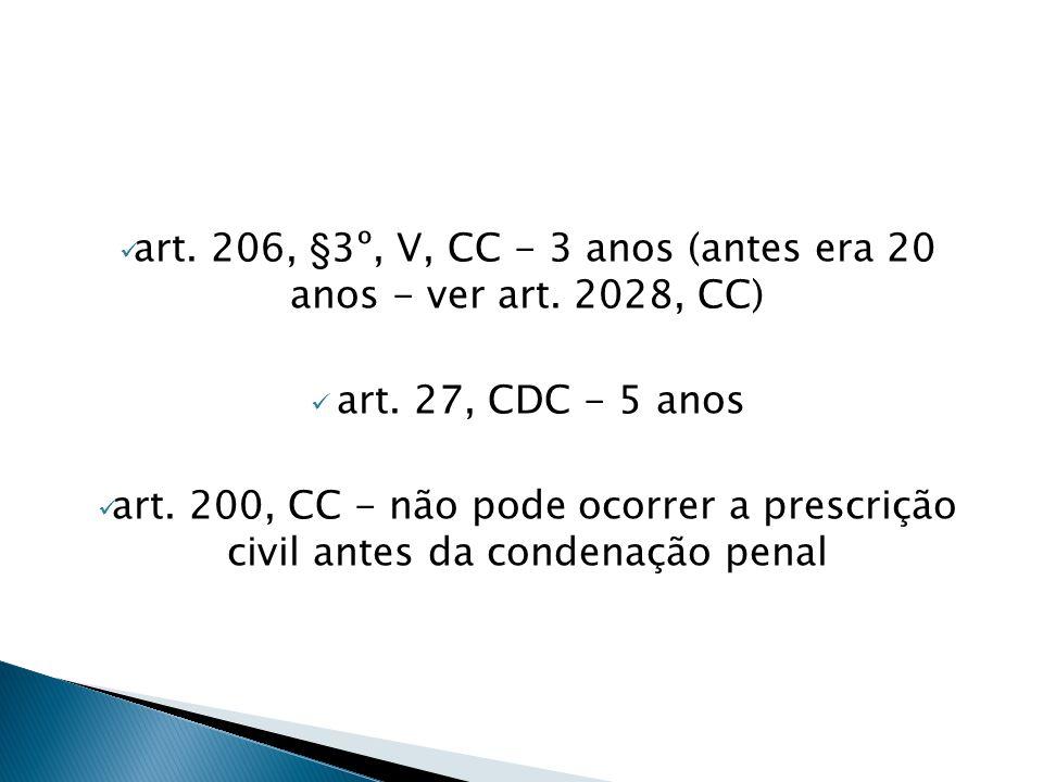  art. 206, §3º, V, CC - 3 anos (antes era 20 anos - ver art. 2028, CC)  art. 27, CDC - 5 anos  art. 200, CC - não pode ocorrer a prescrição civil a