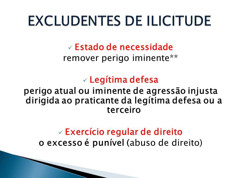  Estado de necessidade remover perigo iminente**  Legítima defesa perigo atual ou iminente de agressão injusta dirigida ao praticante da legítima de