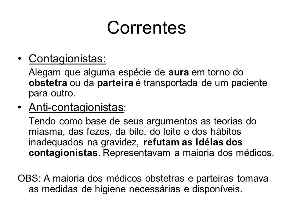 Correntes •Contagionistas: Alegam que alguma espécie de aura em torno do obstetra ou da parteira é transportada de um paciente para outro. •Anti-conta