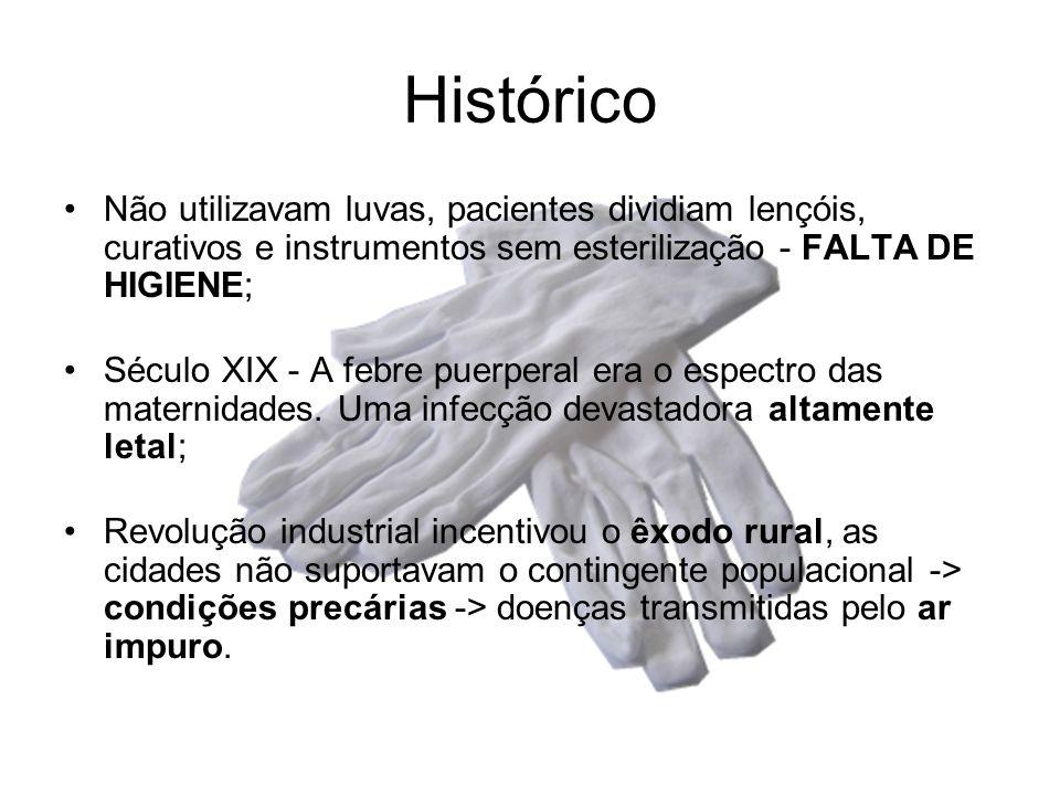 Histórico •Não utilizavam luvas, pacientes dividiam lençóis, curativos e instrumentos sem esterilização - FALTA DE HIGIENE; •Século XIX - A febre puer