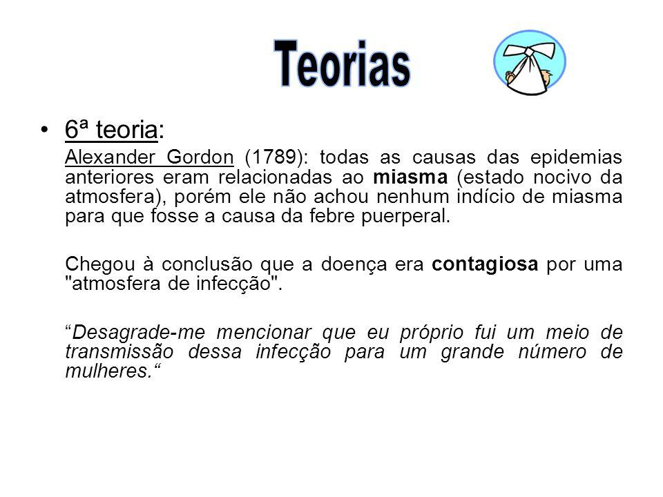 •6ª teoria: Alexander Gordon (1789): todas as causas das epidemias anteriores eram relacionadas ao miasma (estado nocivo da atmosfera), porém ele não