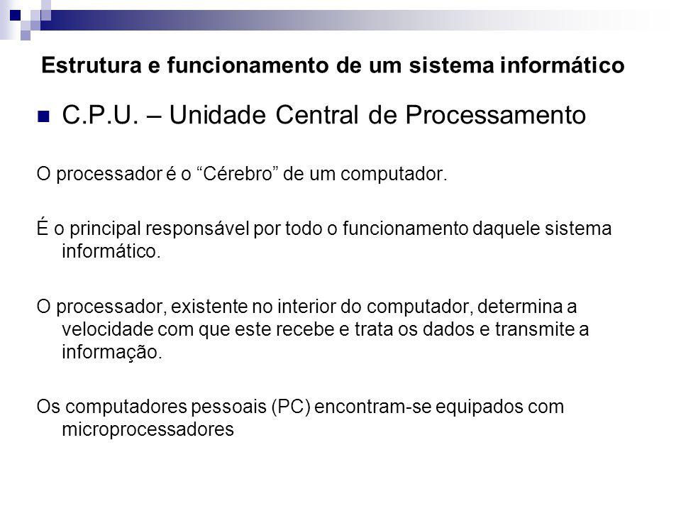 """Estrutura e funcionamento de um sistema informático  C.P.U. – Unidade Central de Processamento O processador é o """"Cérebro"""" de um computador. É o prin"""