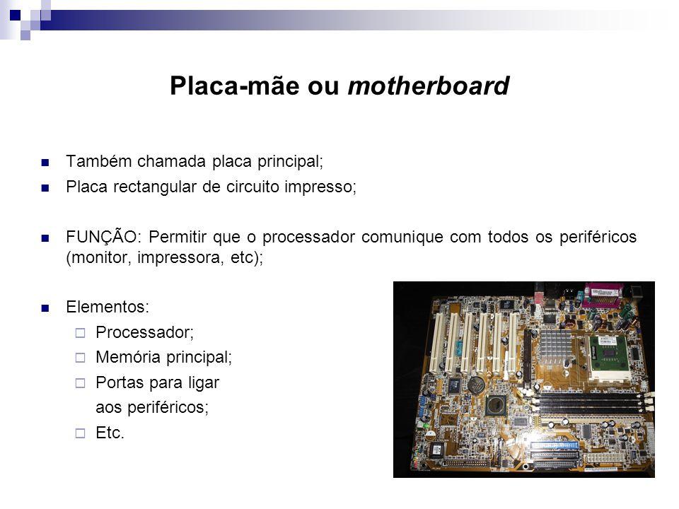 Placa-mãe ou motherboard  Também chamada placa principal;  Placa rectangular de circuito impresso;  FUNÇÃO: Permitir que o processador comunique co