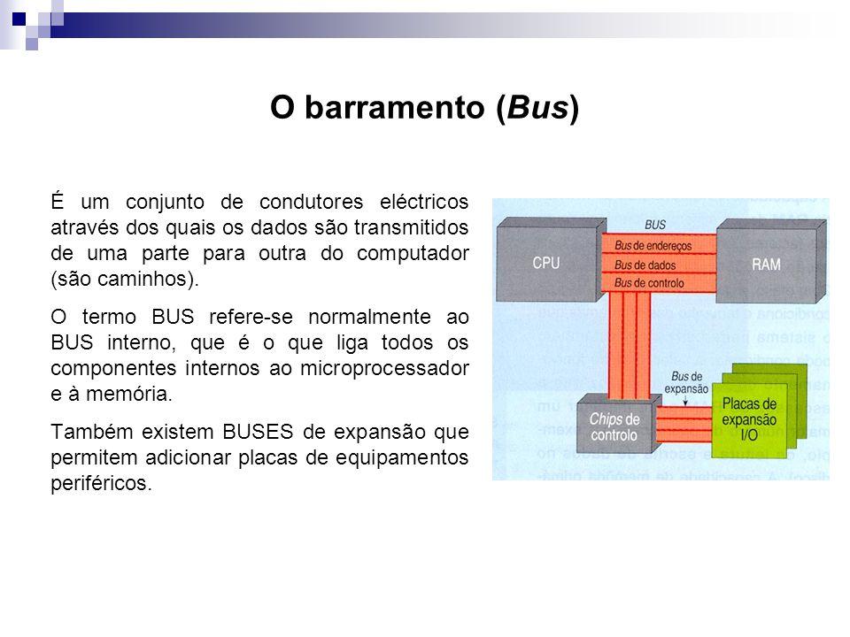 O barramento (Bus) É um conjunto de condutores eléctricos através dos quais os dados são transmitidos de uma parte para outra do computador (são camin
