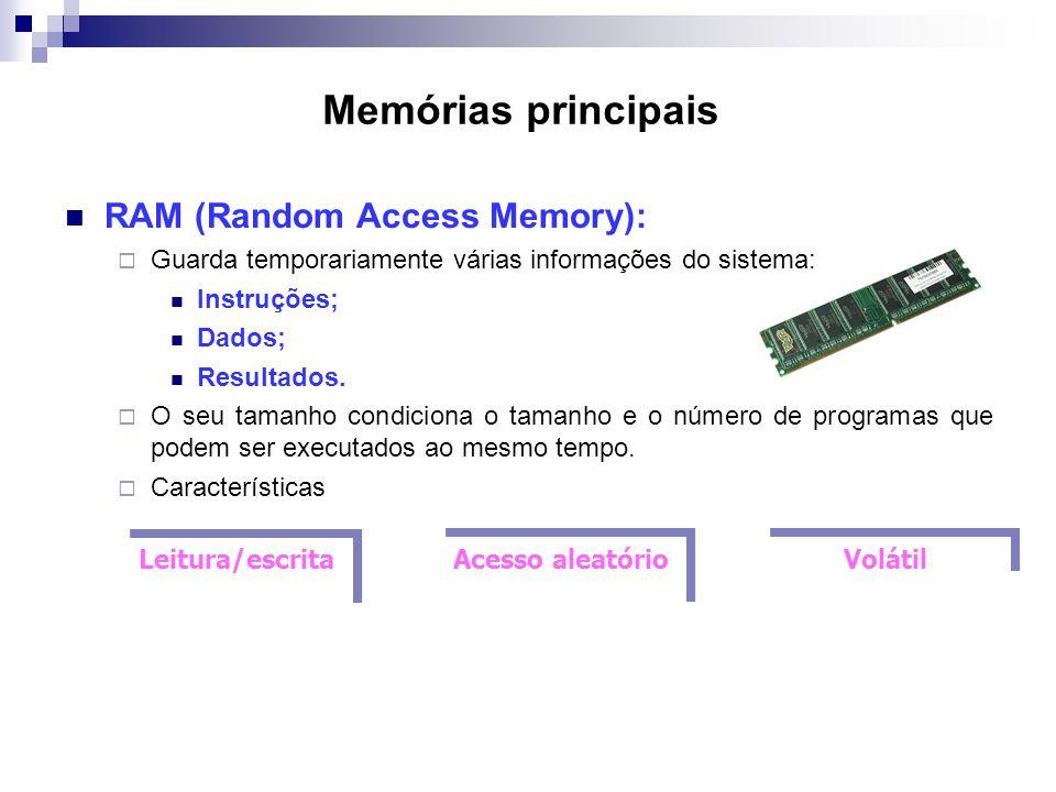 Memórias principais  RAM (Random Access Memory):  Guarda temporariamente várias informações do sistema:  Instruções;  Dados;  Resultados.  O seu