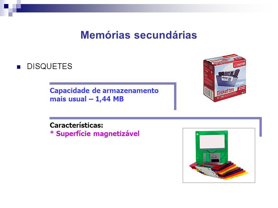 Memórias secundárias  DISQUETES Capacidade de armazenamento mais usual – 1,44 MB Características: * Superfície magnetizável Características: * Superf