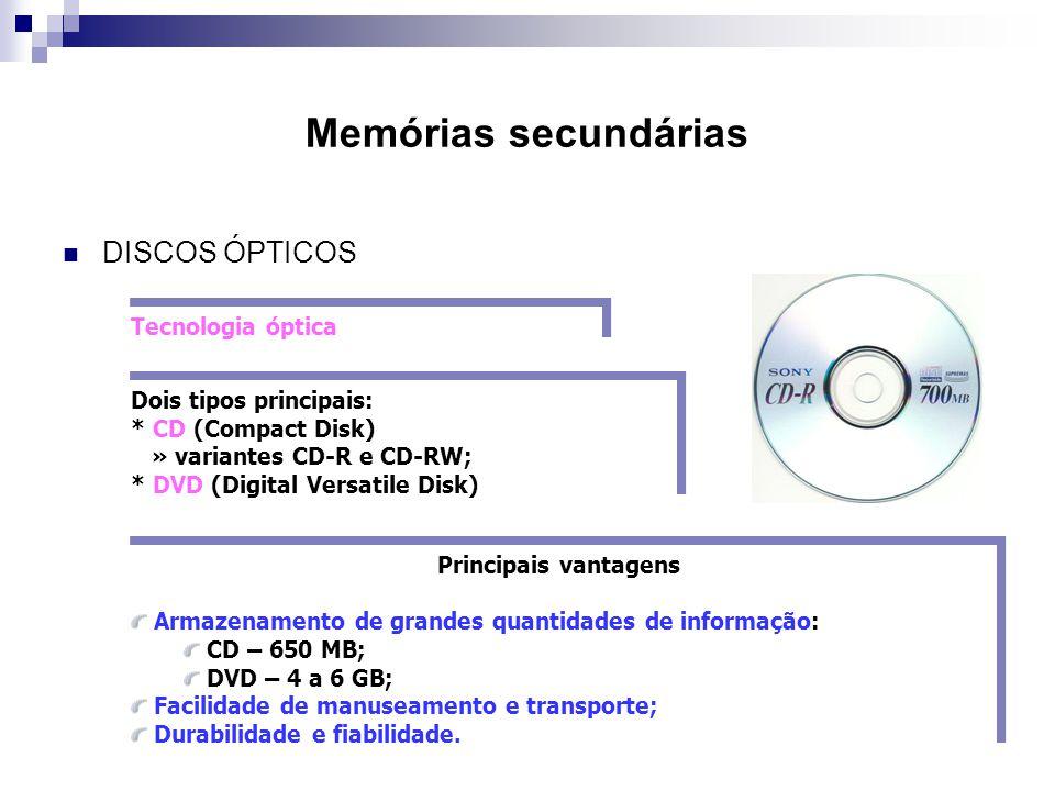Memórias secundárias  DISCOS ÓPTICOS Tecnologia óptica Dois tipos principais: * CD (Compact Disk) » variantes CD-R e CD-RW; * DVD (Digital Versatile