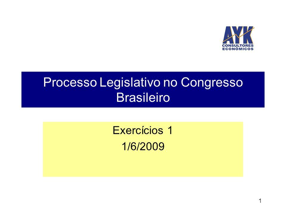 1 Processo Legislativo no Congresso Brasileiro Exercícios 1 1/6/2009