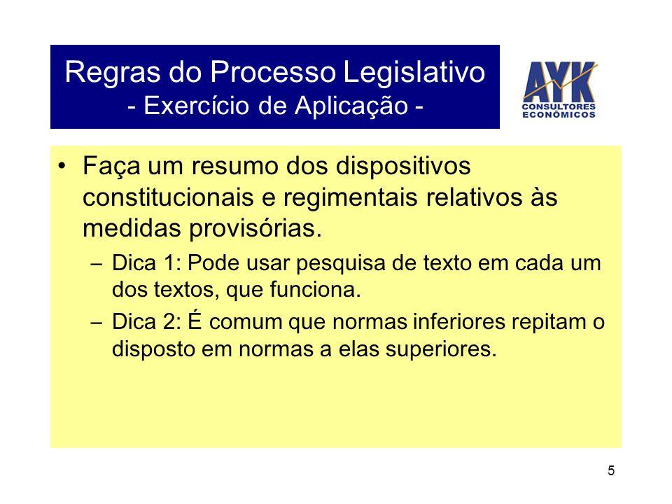 5 Regras do Processo Legislativo - Exercício de Aplicação - •Faça um resumo dos dispositivos constitucionais e regimentais relativos às medidas provisórias.