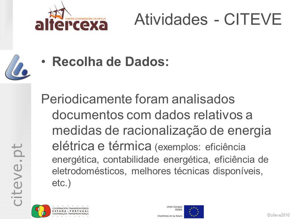 ©citeve2010 citeve.pt Atividades - CITEVE •Recolha de Dados: Periodicamente foram analisados documentos com dados relativos a medidas de racionalizaçã