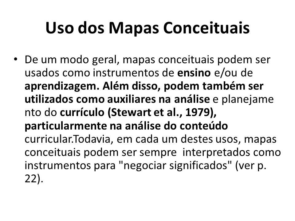 Uso dos Mapas Conceituais • De um modo geral, mapas conceituais podem ser usados como instrumentos de ensino e/ou de aprendizagem. Além disso, podem t