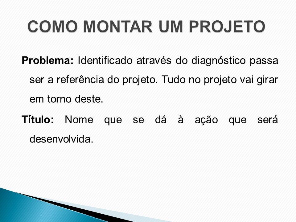 Problema: Identificado através do diagnóstico passa ser a referência do projeto.