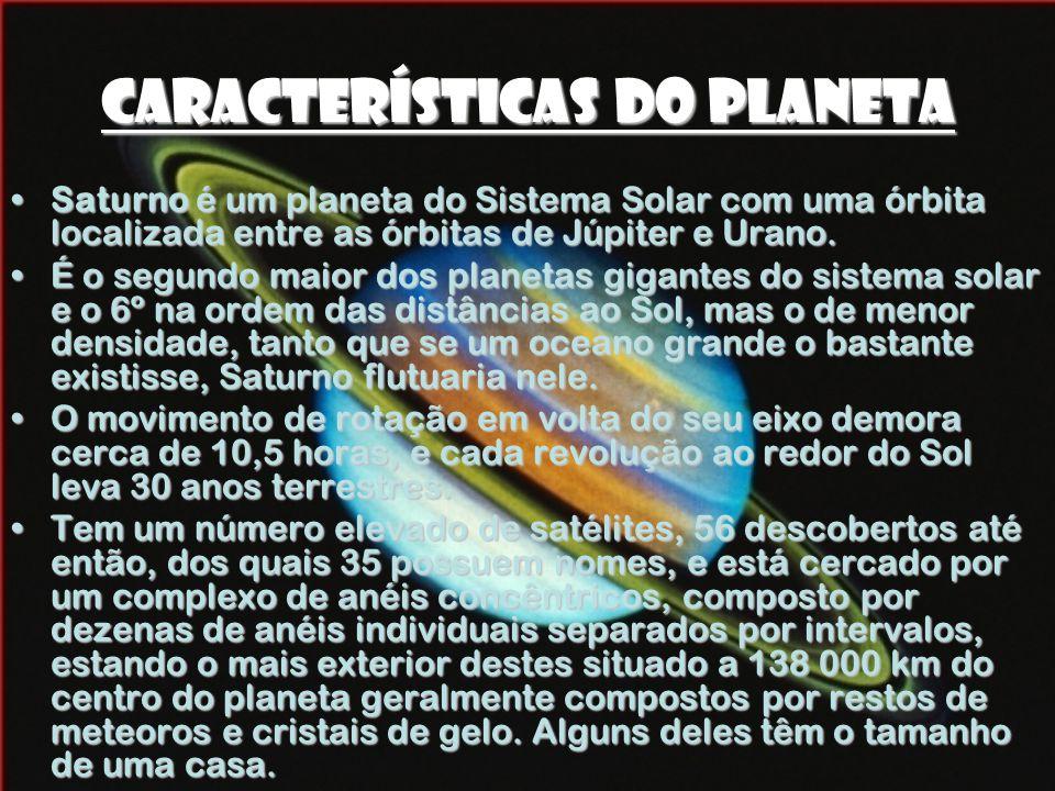 Características do Planeta •Saturno é um planeta do Sistema Solar com uma órbita localizada entre as órbitas de Júpiter e Urano.