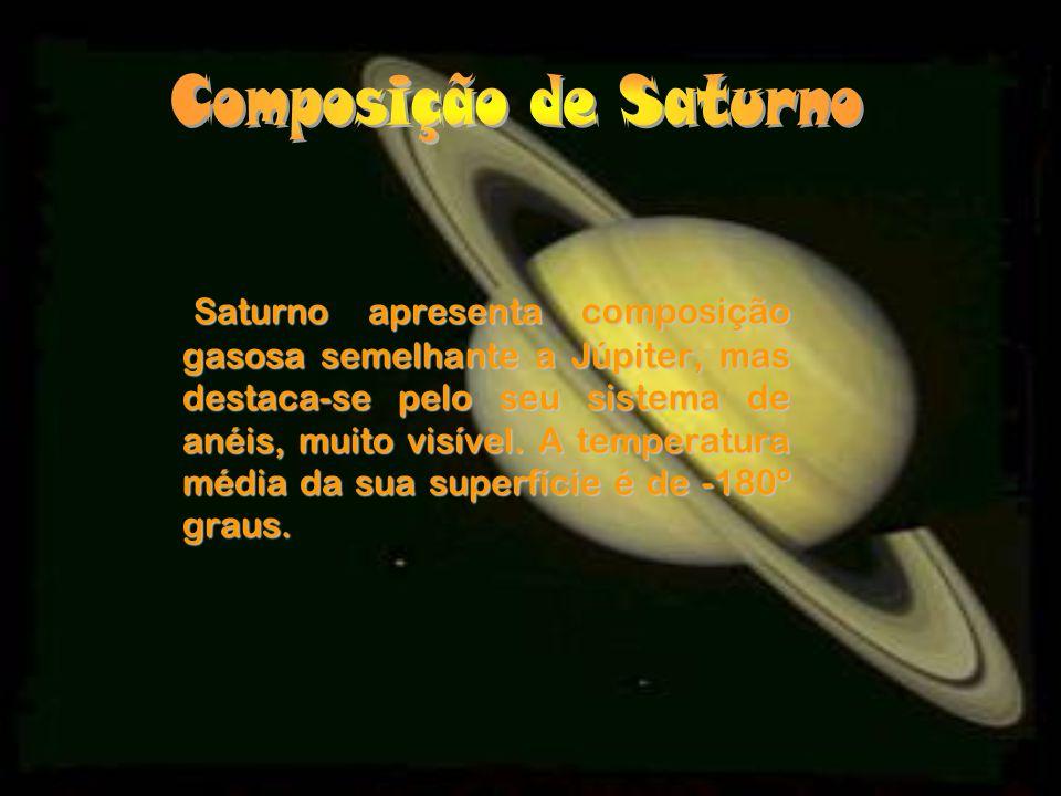 Saturno apresenta composição gasosa semelhante a Júpiter, mas destaca-se pelo seu sistema de anéis, muito visível.