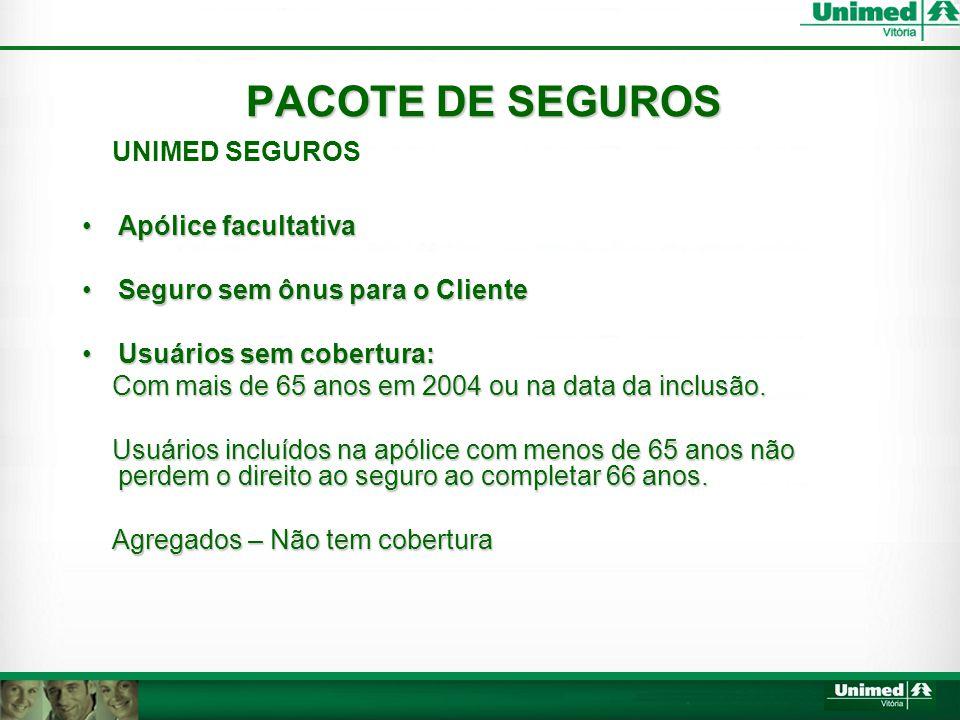 PACOTE DE SEGUROS UNIMED SEGUROS •Apólice facultativa •Seguro sem ônus para o Cliente •Usuários sem cobertura: Com mais de 65 anos em 2004 ou na data da inclusão.