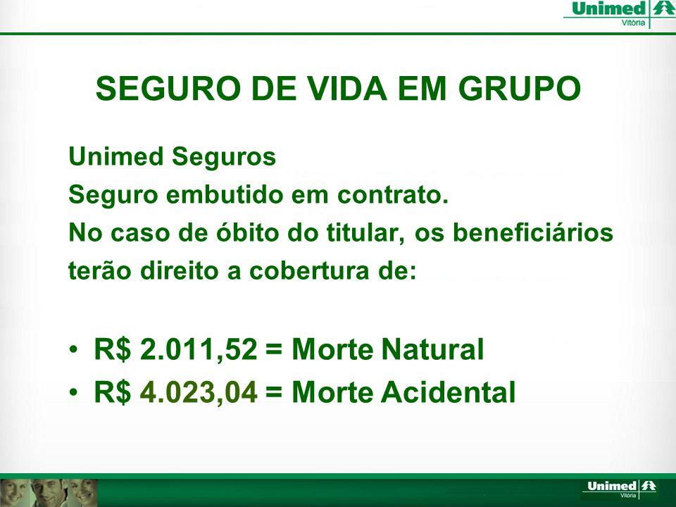 SEGURO DE VIDA EM GRUPO Unimed Seguros Seguro embutido em contrato.