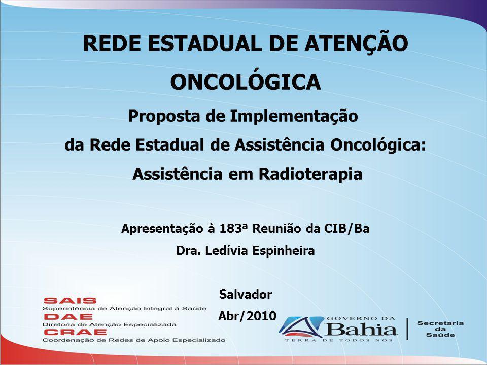 REDE ESTADUAL DE ATENÇÃO ONCOLÓGICA Proposta de Implementação da Rede Estadual de Assistência Oncológica: Assistência em Radioterapia Apresentação à 183ª Reunião da CIB/Ba Dra.