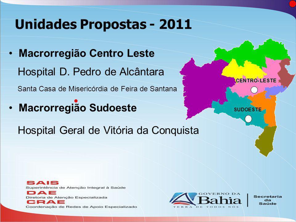  Unidades Propostas - 2011 •Macrorregião Centro Leste Hospital D.