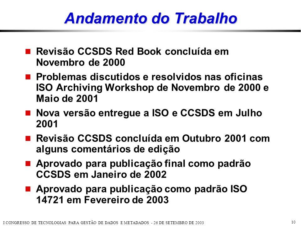 I CONGRESSO DE TECNOLOGIAS PARA GESTÃO DE DADOS E METADADOS - 26 DE SETEMBRO DE 2003 10 Andamento do Trabalho  Revisão CCSDS Red Book concluída em No