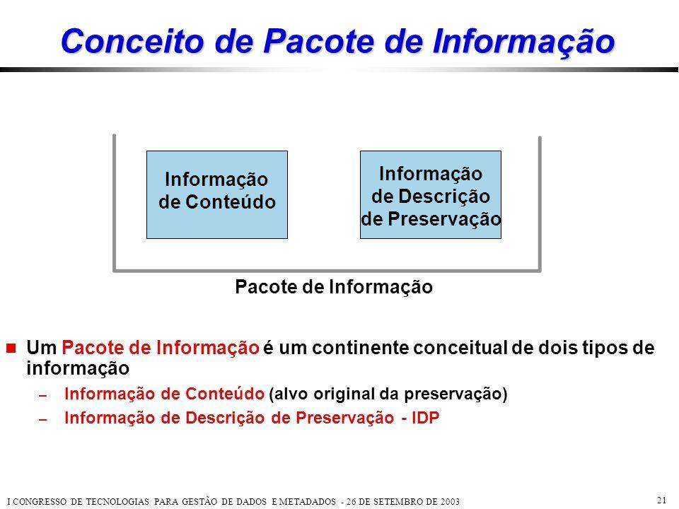 I CONGRESSO DE TECNOLOGIAS PARA GESTÃO DE DADOS E METADADOS - 26 DE SETEMBRO DE 2003 21 Conceito de Pacote de Informação  Um Pacote de Informação é u