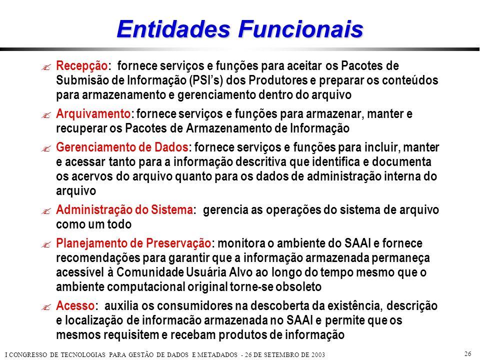 I CONGRESSO DE TECNOLOGIAS PARA GESTÃO DE DADOS E METADADOS - 26 DE SETEMBRO DE 2003 26 Entidades Funcionais  Recepção: fornece serviços e funções pa