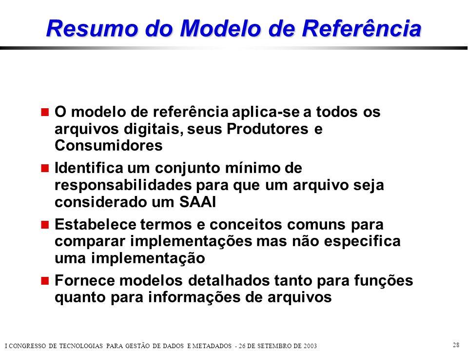 I CONGRESSO DE TECNOLOGIAS PARA GESTÃO DE DADOS E METADADOS - 26 DE SETEMBRO DE 2003 28 Resumo do Modelo de Referência  O modelo de referência aplica