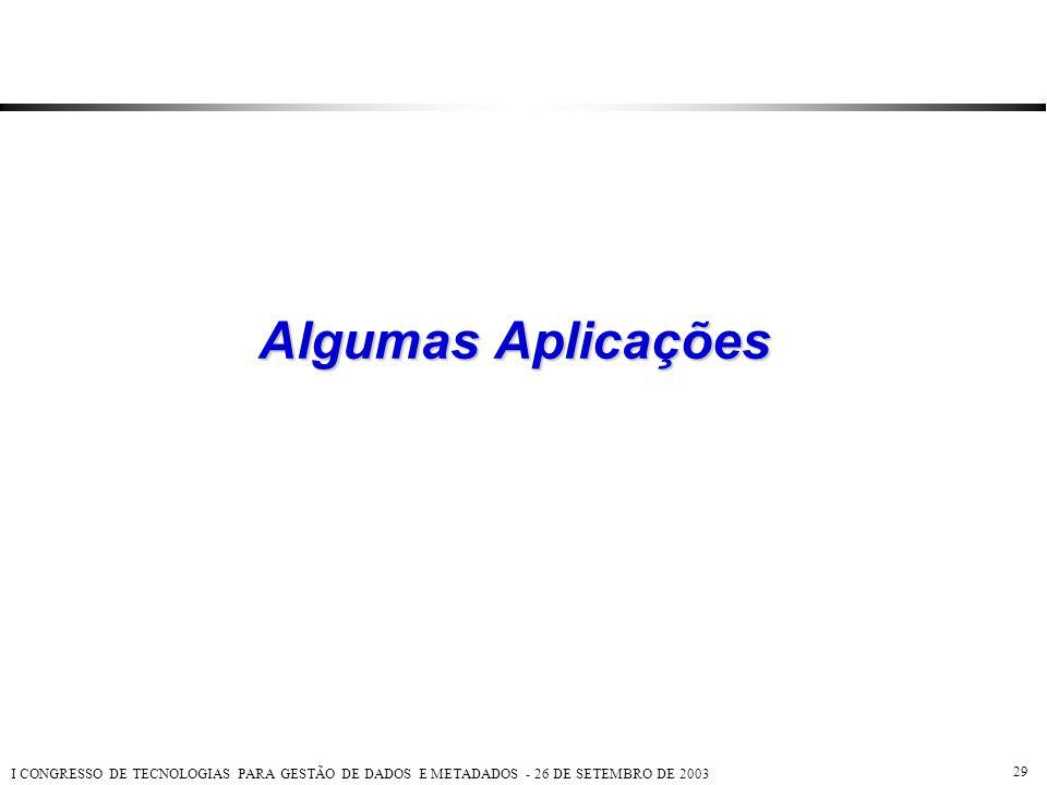 I CONGRESSO DE TECNOLOGIAS PARA GESTÃO DE DADOS E METADADOS - 26 DE SETEMBRO DE 2003 29 Algumas Aplicações
