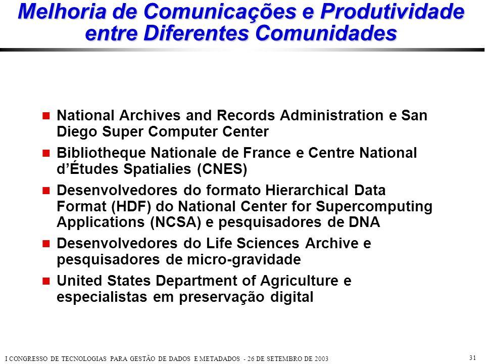 I CONGRESSO DE TECNOLOGIAS PARA GESTÃO DE DADOS E METADADOS - 26 DE SETEMBRO DE 2003 31 Melhoria de Comunicações e Produtividade entre Diferentes Comu