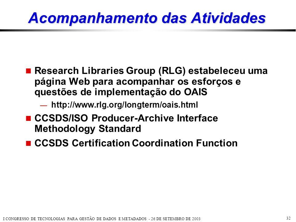 I CONGRESSO DE TECNOLOGIAS PARA GESTÃO DE DADOS E METADADOS - 26 DE SETEMBRO DE 2003 32 Acompanhamento das Atividades  Research Libraries Group (RLG)