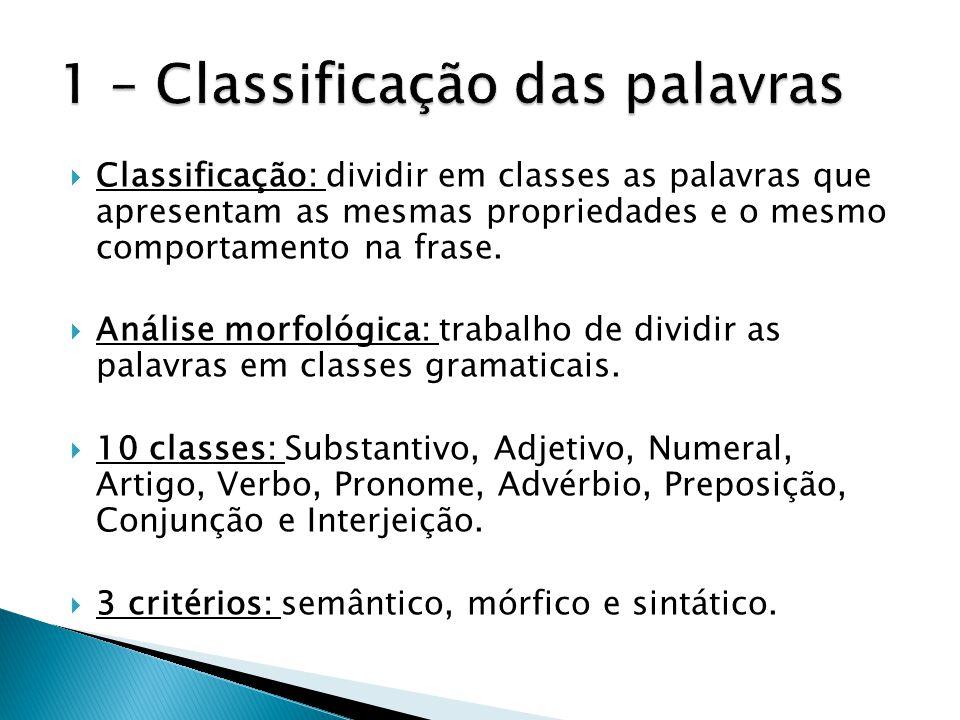  Classificação: dividir em classes as palavras que apresentam as mesmas propriedades e o mesmo comportamento na frase.  Análise morfológica: trabalh