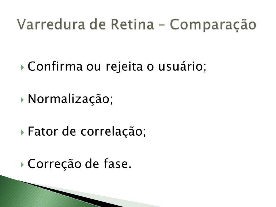  Confirma ou rejeita o usuário;  Normalização;  Fator de correlação;  Correção de fase.