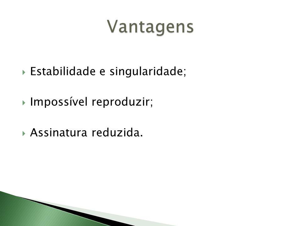  Estabilidade e singularidade;  Impossível reproduzir;  Assinatura reduzida.
