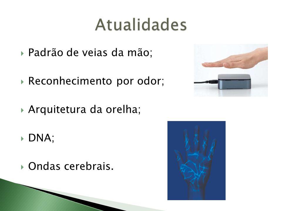  Padrão de veias da mão;  Reconhecimento por odor;  Arquitetura da orelha;  DNA;  Ondas cerebrais.