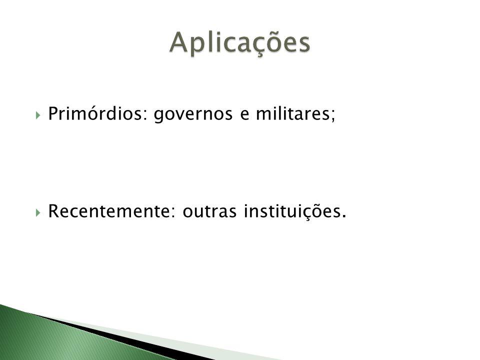  Primórdios: governos e militares;  Recentemente: outras instituições.