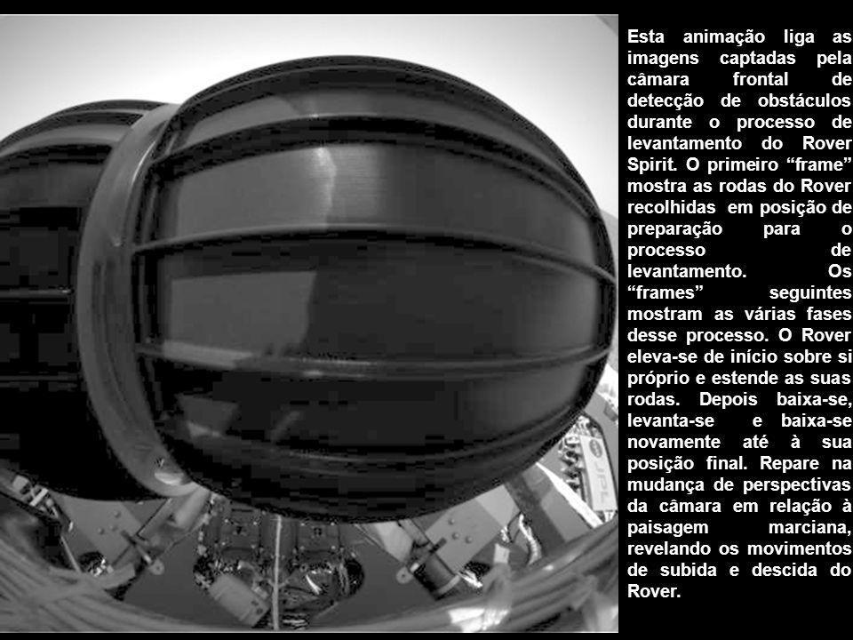 """Esta animação liga as imagens captadas pela câmara frontal de detecção de obstáculos durante o processo de levantamento do Rover Spirit. O primeiro """"f"""