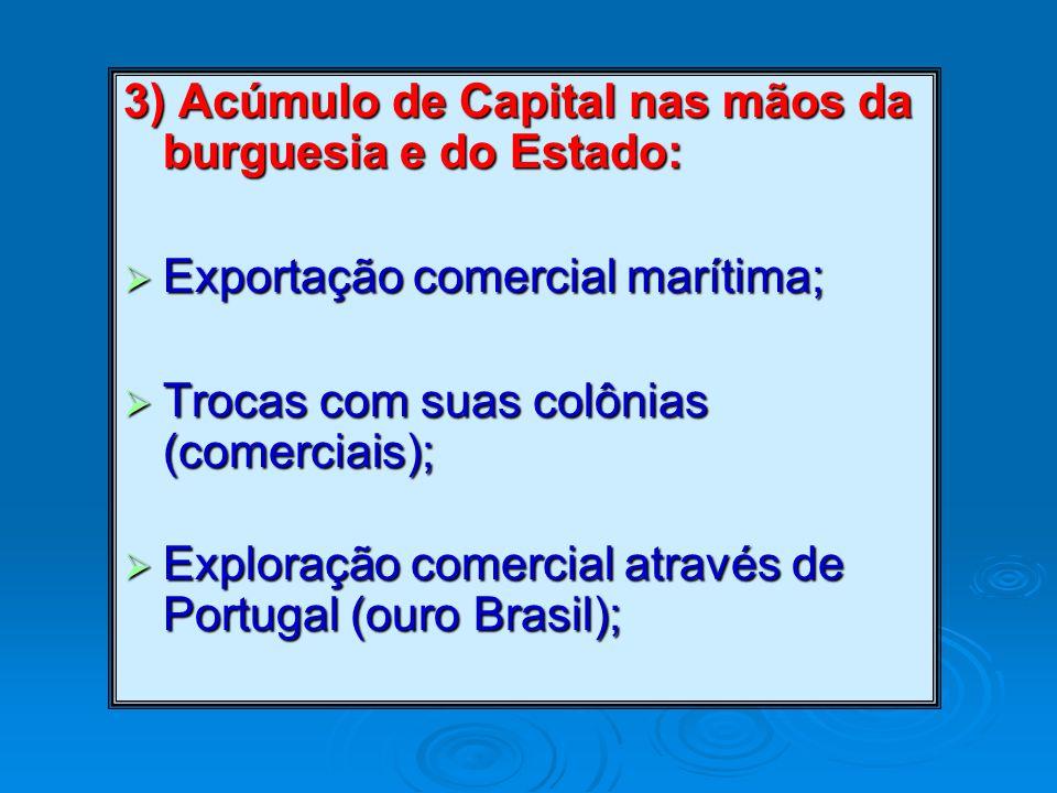 3) Acúmulo de Capital nas mãos da burguesia e do Estado:  Exportação comercial marítima;  Trocas com suas colônias (comerciais);  Exploração comercial através de Portugal (ouro Brasil);