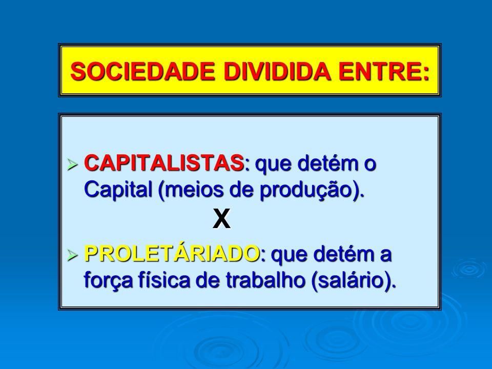 SOCIEDADE DIVIDIDA ENTRE:  CAPITALISTAS: que detém o Capital (meios de produção).