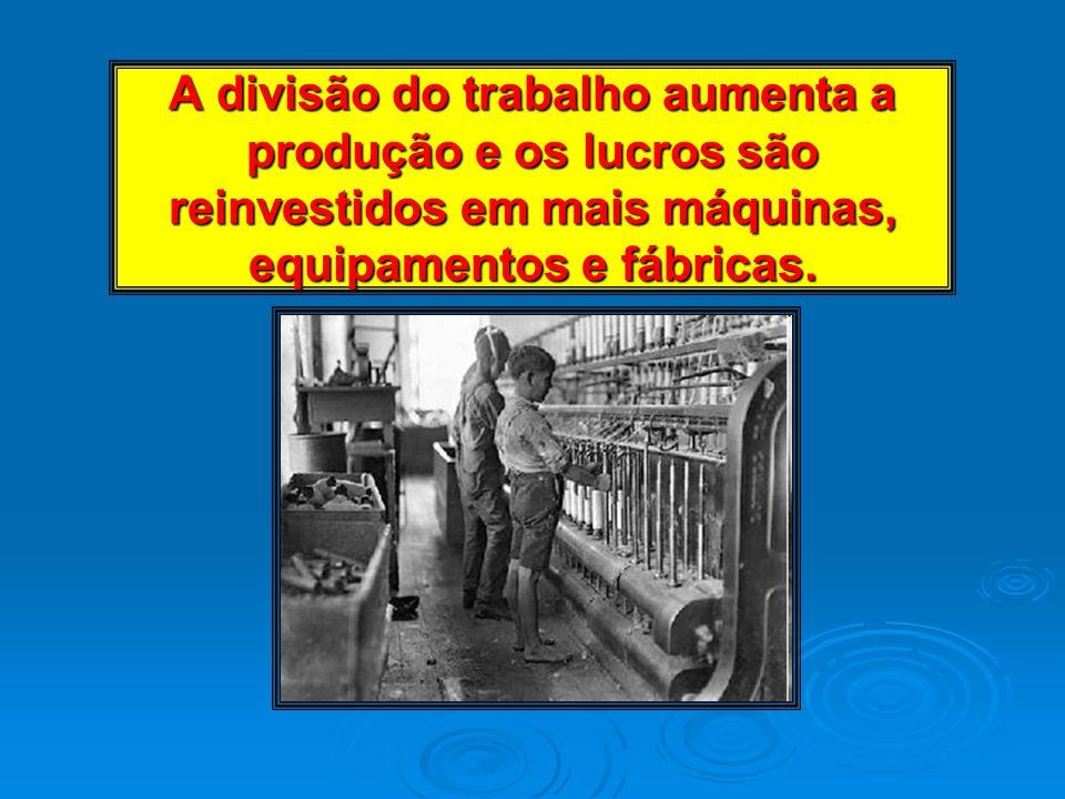 A divisão do trabalho aumenta a produção e os lucros são reinvestidos em mais máquinas, equipamentos e fábricas.