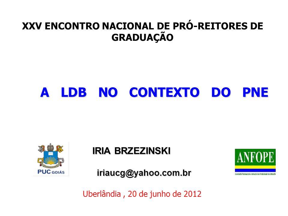 A LDB NO CONTEXTO DO PNE IRIA BRZEZINSKI IRIA BRZEZINSKI iriaucg@yahoo.com.br iriaucg@yahoo.com.br Uberlândia, 20 de junho de 2012 XXV ENCONTRO NACION